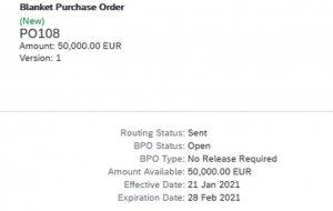 blanket purchase order standing order limit order sap ariba